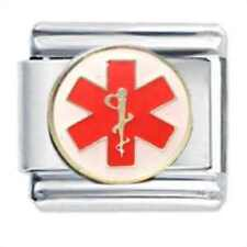 CADUCEUS Red Medical Symbol - Daisy Italian charm fits Classic Size  Bracelet
