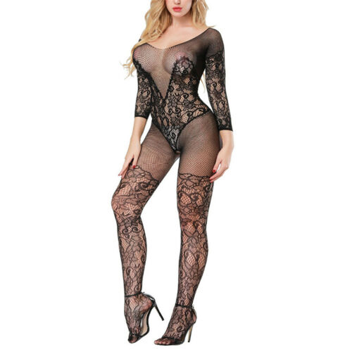 Details about  /Black Lingerie Babydoll Crotchless Teddy Nightie Leotard Body Suit Stocking JB