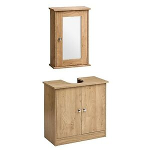Details About Wall Mounted Under Sink Bathroom Storage Cabinet Portland Oak Veneer Shelf Unit
