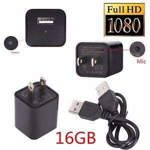 16GB 1080P USB Spy Camera AC Adapter USB Wall Charger Camcorder DV Surveillance