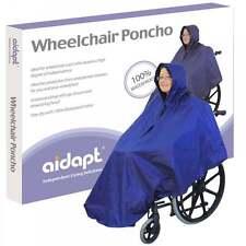 Aidapt Wheelchair Rain Cover Warm Dry Poncho Waterproof Cape Hood Universal Blue