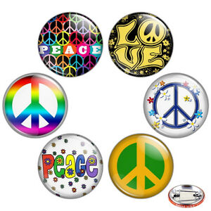 Peace-Sign-1-25-034-Pinback-Button-BADGE-SET-Novelty-Pins-32-mm-Gift-Flower-Power
