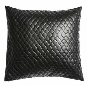 Pillow Leather Cover Genuine Cushion Black Decorative Throw Soft 3