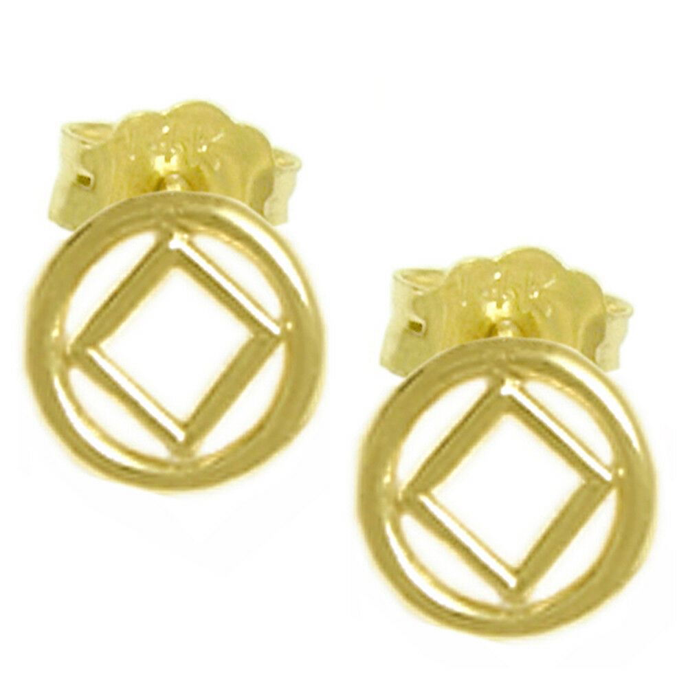 NA Narcotics Anonymous Symbol Stud Earrings, Small Size, 14k gold