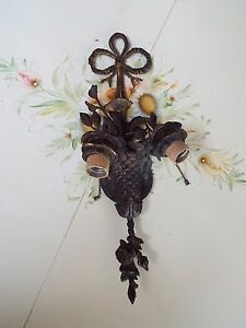 VINTAGE-GOLD-GILT-TOLE-ROSES-BOUQUET-IN-BASKET-WALL-SCONCE-LIGHT-NR