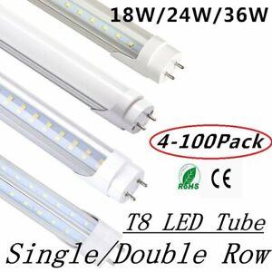 4-100PACK T8 4Foot LED Light Bulbs G13 Single/Double Line Lamp Tube 18W 24W 36W