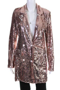 Endless Rose Womens Sequin Double Breasted Blazer  Rose Gold Tone Size Small