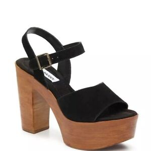 6ecb43f92b Image is loading Steve-Madden-Clique-Platform-Sandals-Black-Size-8-