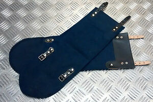 Genuine-Vintage-Swedish-Navy-Gaiters-Anklets-Cotton-Canvas-Leather-Straps