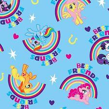Fabric My Little Pony Best Friends Rainbows on Blue Cotton by the 1/4 yard BIN