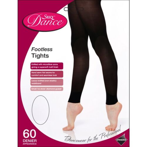 4 Sizes S-XL Ladies Footless Dance Tights Adult 60 Den Ballet Tights in Black