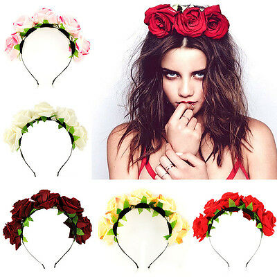 Rose Flower Boho Style Beach Headband Wedding Festival Floral Garland Hairband