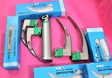 New Fiberoptic Laryngoscope Mac Emt Anesthesia Combo Set 4 Blades 1 Handle