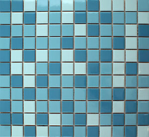 Details about SAMPLE Gloss Blue Mix Swimming Pool Mosaic Tile