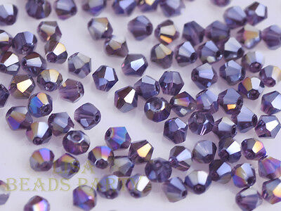 100pcs 3x4mm Clear Bicone Faceted Crystal Glass Loose Spacer Beads Free Postage
