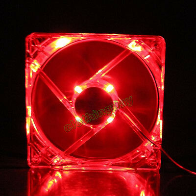 Red Frame Red LED Light 12V 12cm 120mm 120x120x25mm PC CPU Case Cooling Fan