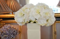 Bunch Of 5 Antique White / Cream Hydrangeas, Realistic Artificial Silk Flowers