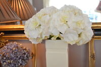 Bunch Of 3 Antique White Faux Hydrangeas Realistic Artificial Ivory Silk Flowers