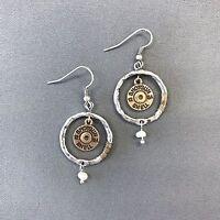 Classic Silver Circle Shaped Gold Shotgun 12 Ga Shell Charm Drop Dangle Earrings