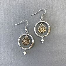 Classic Silver Circle Shaped Gold Shotgun 12 GA Shell Charm Drop Dangle Earrings