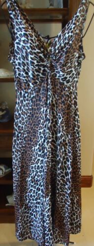 Vtg 70s Leopard Silky Nylon Leopard Nightgown Negl