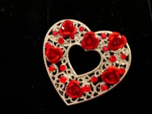 Hand embroidered rose heart brooch romantic Valentine gift