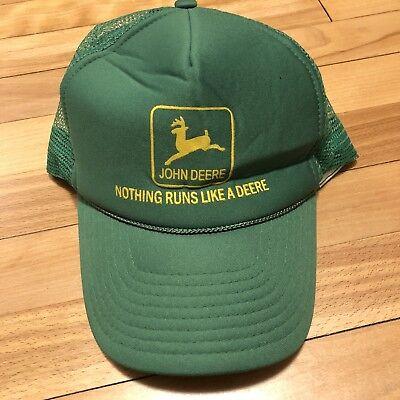 6c92f1b92 Vintage John Deere Trucker Hat Cap Mesh back Snapback Nothing Runs Like A  Deere | eBay