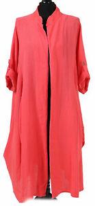 Women-Italian-Lagenlook-Longline-Open-Front-Cotton-Turnup-Button-Sleeve-Cardigan