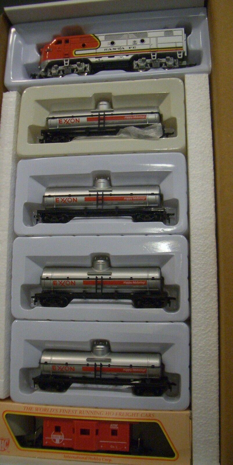 Ho Tren Set Santa Fe F-2 Loco 4 Autos Clásico Exxon vagones-cisterna & Caboose rr -400