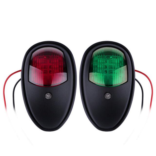 2x Black LED Navigation Lights Red Green For Port/Starboard Marine/Boat/Yacht US