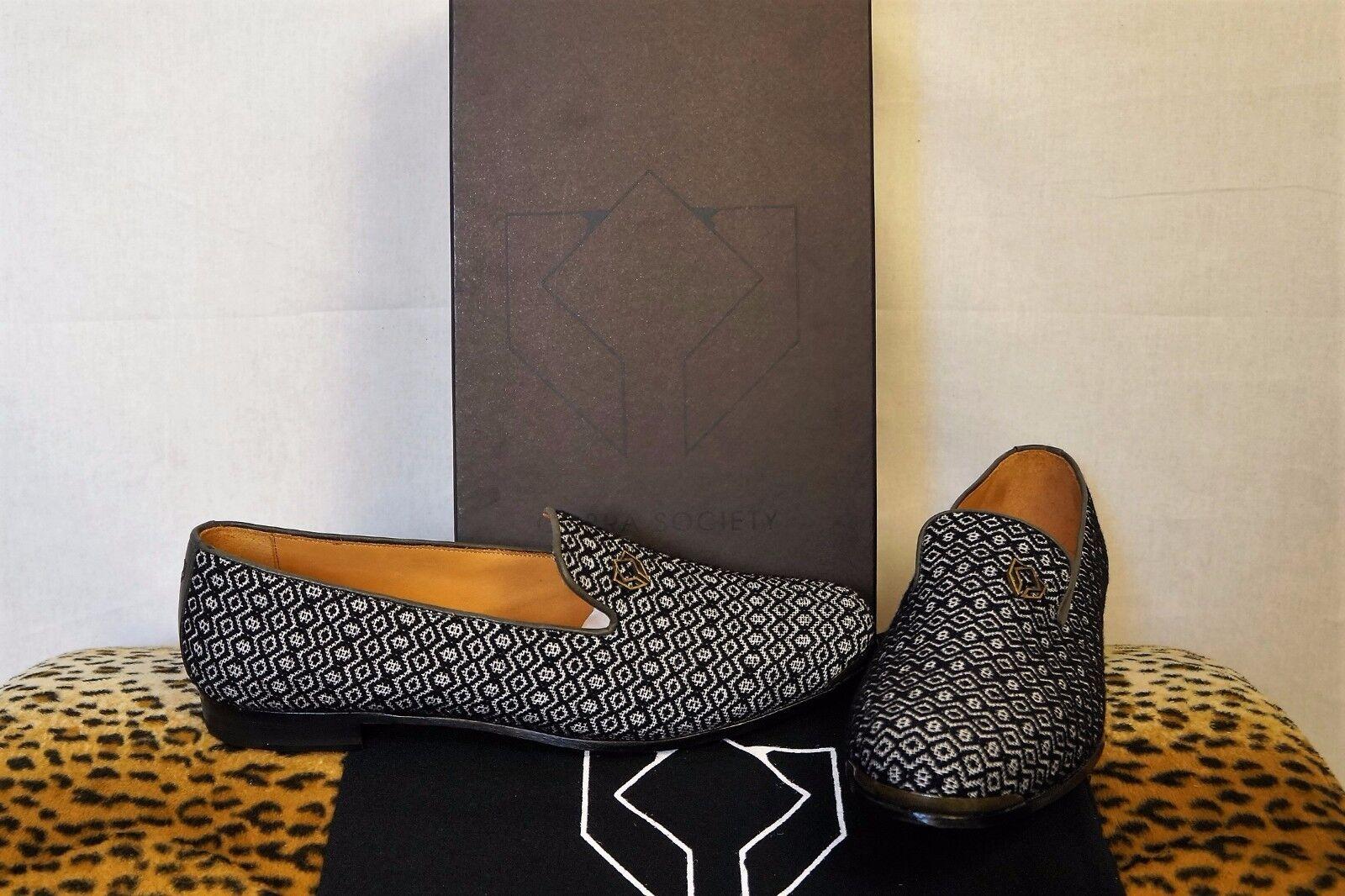 servizio premuroso COBRA SOCIETY nero     bianca Diamond Print Textile Flat Loafers 5 6 11 12  contatore genuino