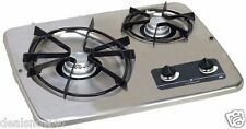 RV Compact 2 Burner LP Gas Cook On Top Range Stove For Camper Trip Kitchen Chef