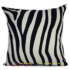 Zebra-Animal-Contemporary-Cushion-Black-White-Decorative-Luxe-Throw-Pillow-Cover