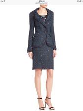 NWT St. John $3490 Sparkle Tweed Knit Jacket + Skirt Suit with Fringe Trims SZ8