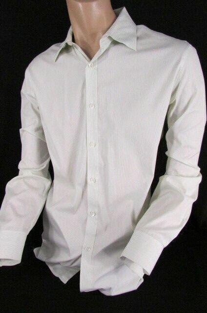 Theory Men White Button Down Dressy Shirt Green Pin Stripes Classic Size L 34-35