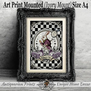 White-Rabbit-Art-Print-on-Antique-Dictionary-Book-Page-Alice-in-Wonderland-Decor