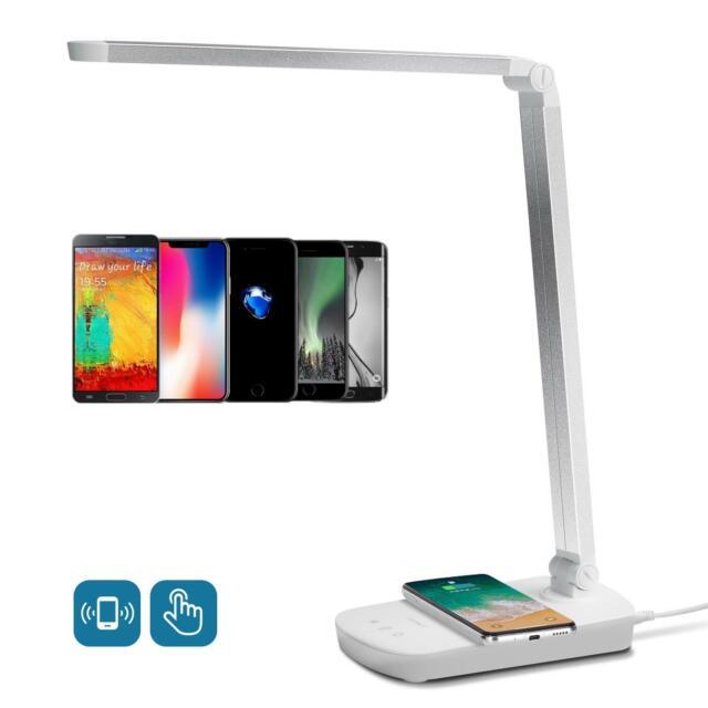 Lampada Da Tavolo Dimmerabile Ricarica Wireless Smartphone Aigostar Col Silve Ebay