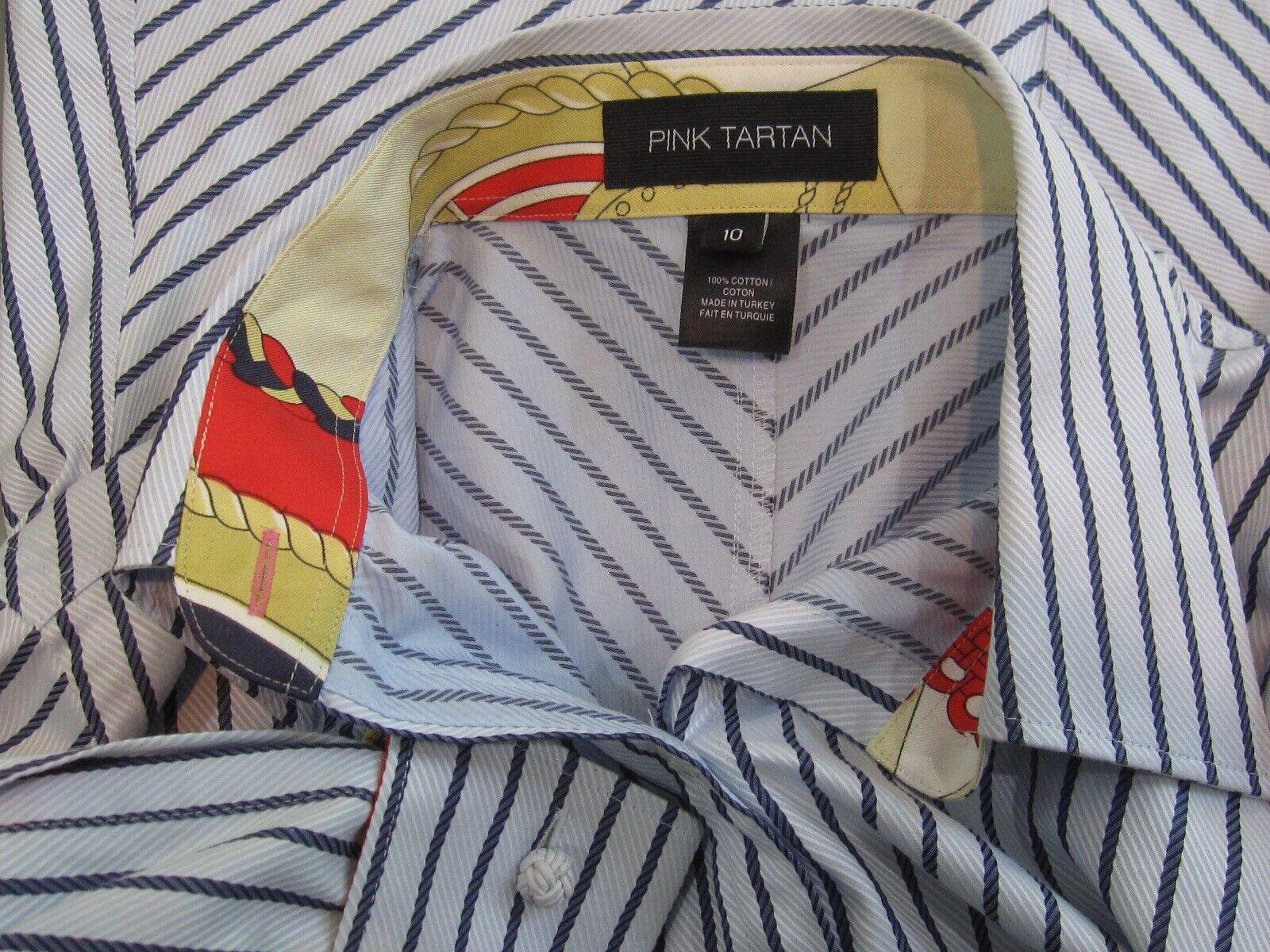 58d6abad7f4aa NWOT PINK TARTAN TARTAN TARTAN Pinstripe Contrasting Design Knot Cuffs Shirt  Sz 10 Monogram 7a1743