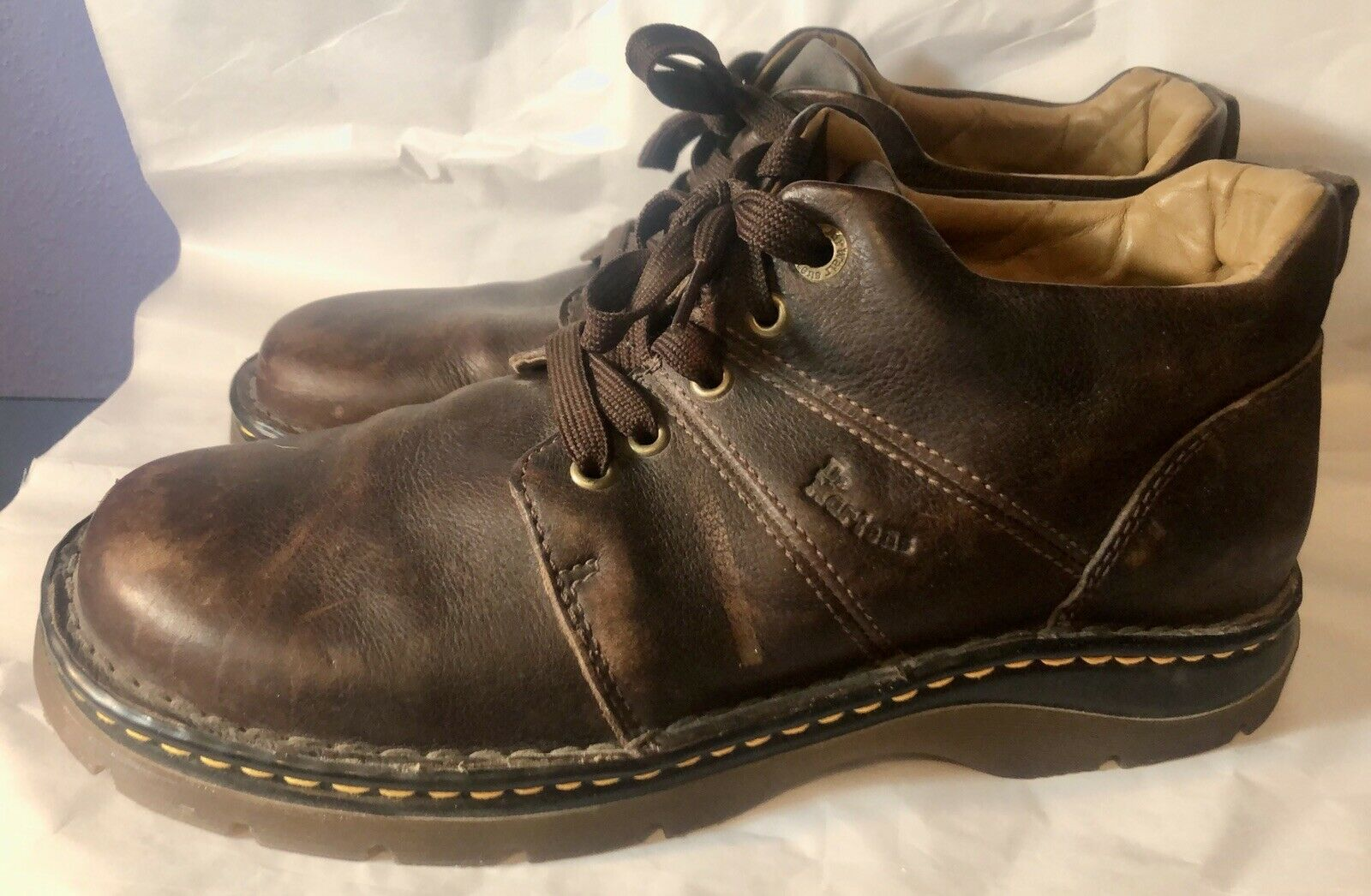 Dr Doc Marten Men's 5 Eye Brown Leather Shoes Oxford Low Boot 10M Distressed