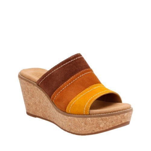 Clarks Womens Aisley Lily Slip On Platform Wedge Sandals Tan Combi Suede 24074