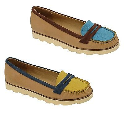 Ladies Womens Flat Casual Slip On faux Suede Summer Penny Loafers Shoes Size 3-8