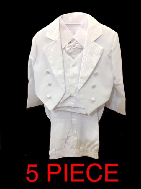 KIDS WHITE LONG TAIL TUXEDO 5 PIECE SUIT FORMAL WEDDING PARTY PAGE BOY BABY