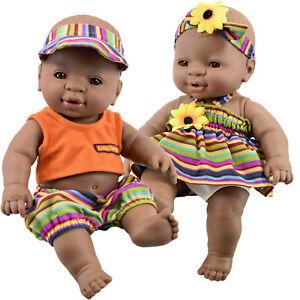 Anatomically Correct Black Dark Skin Twin Dolls Ethnic African Baby Doll Twins 5060621840022