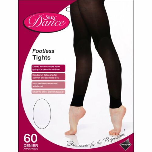 Childrens Footless Dance Tights Girls 60 Den Ballet Tights in Pink age 3-13