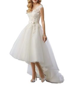 Women s Lace High Low Short Tea Length Wedding Dresses Bridal Gowns ... 068b20e4a6