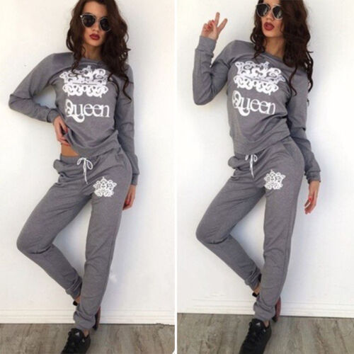 2Pcs Tracksuit Set Lady Striped Hooded Sweatshirt Sport Pants Loungewear Suit