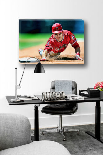 Anaheim Angels MIKE TROUT Base Steal Poster Photo Painting on CANVAS Wall Art
