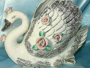 Vintage Planter Swan Ceramic ROYAL JAPAN White Trinket Dish Jewelry Holder Decor