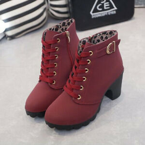New Womens Ladies High Block Heel Ankle Boots Buckle Lace Up Casual Shoes Size