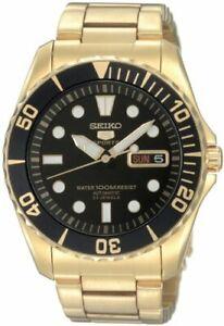 SEIKO-5-SPORTS-SNZF22-SNZF22J-Automatic-Gold-Black-Men-039-s-Watch